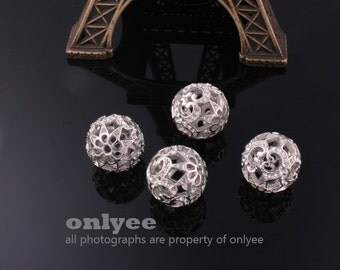 8pcs-13mmRhodium plated brass Filigree Ball Beads(K431S)