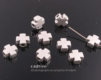 8pcs-7.3mmRhodium plated Zinc Alloy Mini Cross bead,connector, charm(K482S)