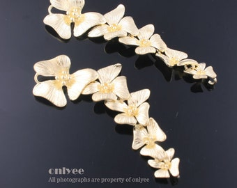 10pcs-55mmX15mm Gold plated over Brass Fivefold cascading orchid Flower connectors (K457G)