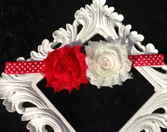Babies Girls Red White Minnie Mouse Head Band Hair Bow Shabby Chic Rose Vintage for Birthdays, Photo Props, Parties and Special Events