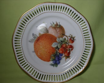 F.B. & Co Germany Plate with cut China Edging with a Fruit Pattern and Gold Trimmed Rim