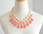 Statement Pink Necklace, Square Stone Drama Necklace,Bridesmaids Necklace Gift, Wedding Party Bridal Jewlery, Gift Box Wrap Available