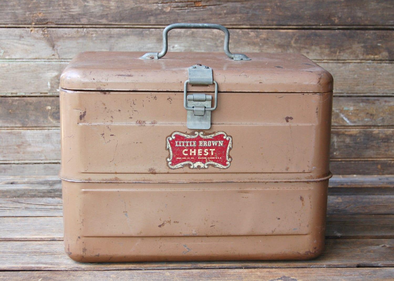 Vintage Little Brown Chest Cooler
