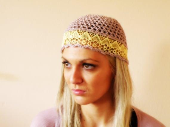 Women HAT LACE hat summer beige wedding hat women crochet hat beanie hat crochet flapper hat lace cloche crochet cap by JenitBoutique
