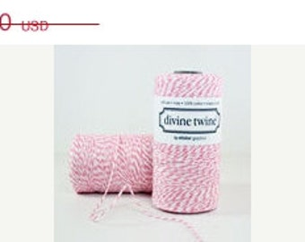 RASPBERRY Divine TWINE-240 yards- (Fuchsia and white)