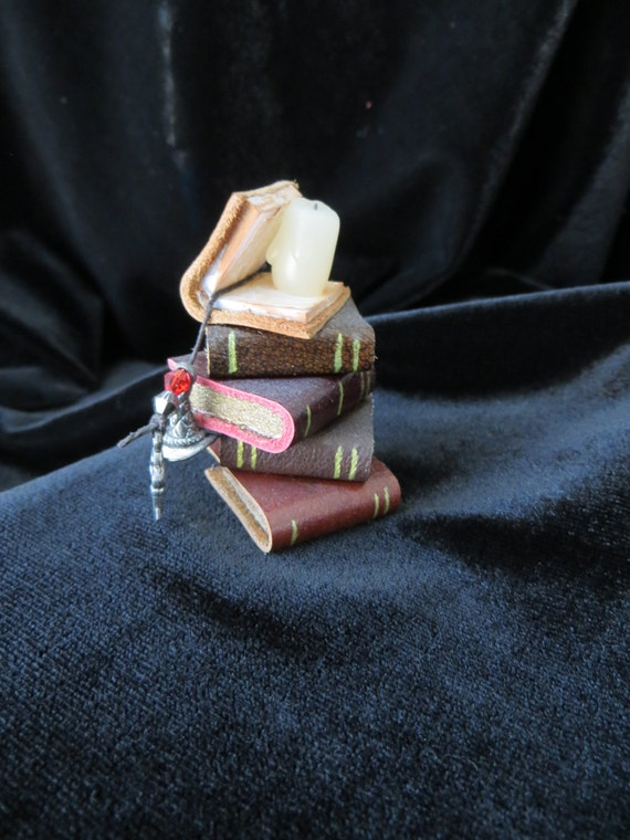 Miniature Stack of Books - Wizard Harry Potter Sorting Hat Dollhouse Study