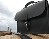 Black Bridle Leather Briefcase with an almost  Indestructible Original Strong Eye latch - Quick and Easy To Open
