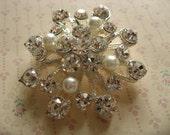 Night firework Swarovski rhinestone crystals and pearls wedding bridal sparkling brooch pin
