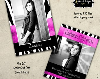 Photoshop Template Graduation Card - Instant Download 5x7 PSD Files - Animal Print card 1