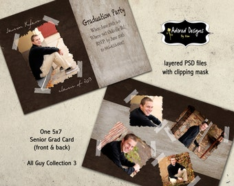 High School Graduation Card Photoshop Template Instant Download -  5x7 PSD Files - All Guy Collection 3, card 3
