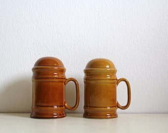 Retro Vintage Salt and Pepper Shakers with Handles - Secla Portuguese Pottery