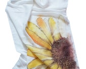 Linen scarf - hand painted - flax - spring - autumn - winter - gift - chamomile - summer - flower - yellow - white