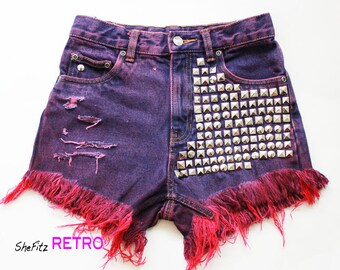 High Waisted Rocker Silver Studded Cut Off Shorts SIZE 25