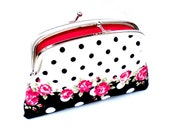 Black and white spotty double section coin purse - Shabby Chic ditsy rose wallet - cath kidston & Pink polka dots