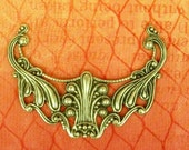 SplendId Victorian Style Floral Filigree Connector - 48x37mm - Sterling Silver Plated Brass