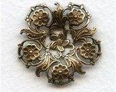 2 Splendid Very Unique Floral Filigree - Oxidized Brass - 30mm - Focal Point Necklace Bracelet