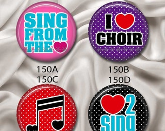 """Love To Sing, Love Choir - Interchangeable Magnetic Design Inserts - FIT Clique and Magnabilities 1"""" Jewelry...150"""