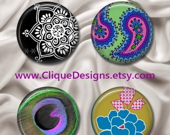 """ANY 4 Magnetic Interchangeable Design Inserts, Button Magnets - Fit Clique and Magnabilities 1"""" Jewellery Bases & Retractable ID Badge Reels"""