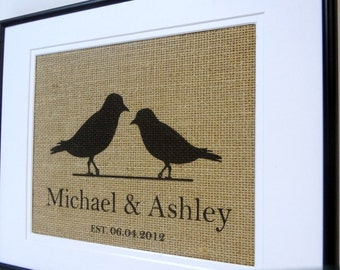 Personalized Burlap Love Birds with Names and Est. Date
