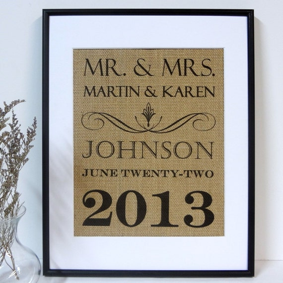Wedding Gift for Couple Personalized Burlap Print