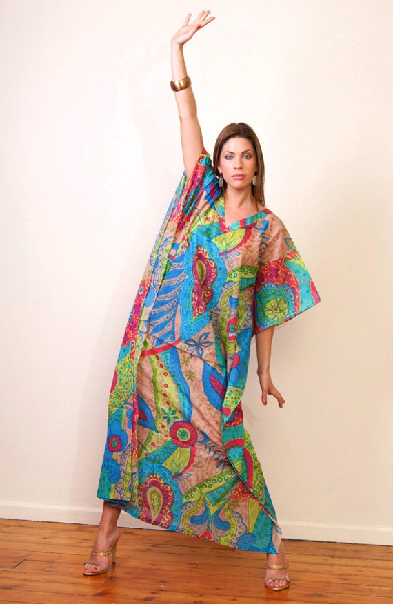 MURALE BLEU Long Cotton kaftan dress. Lounge wear, beach cover up or gift for her.