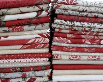 French General for Moda Fabrics Esprit de Noel Collection One 33 Piece Fat Quarter Yard Bundle