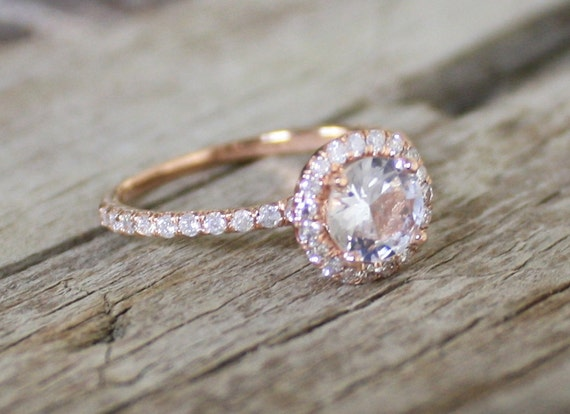1.02 Cts. White Sapphire Diamond Engagement Ring in 14K Rose Gold Halo Setting