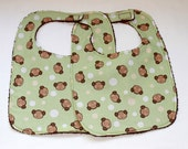 Baby/Toddler Bib Set of Two - Monkey Bib - Cotton and Terry Cloth  - Gender Neutral