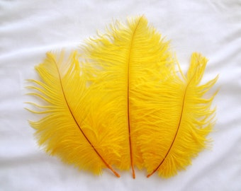 Sunny Yellow Ostrich Drab Feathers Wholesale Bulk Supply Craft Costume Design