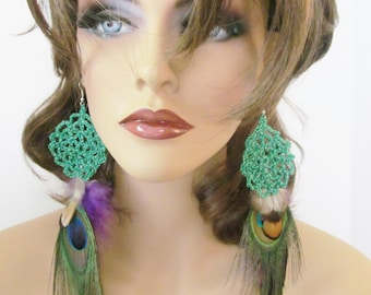 Crochet Feather Earrings