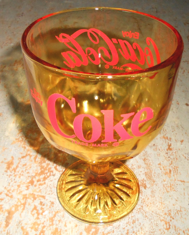 Vintage Coke Glass Amber Glass Coca Cola Goblet Glass