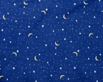 Moons and stars print on deep blue