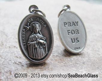 Saint Teresa of Avila Necklace. St Teresa of Avila. St. Theresa. Catholic Jewelry. Vintage. Catholic Patron Saint Charm Medal.