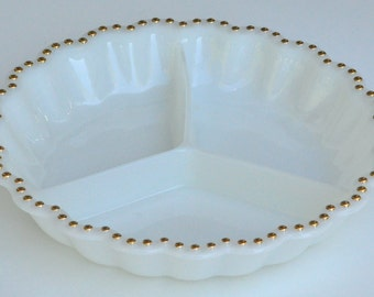 Vintage Milk Glass Tri-Section Dish