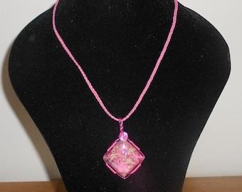 Beautiful Feminine Pink Impression Jasper Gemstone Cabochon and Wirework Pendant.