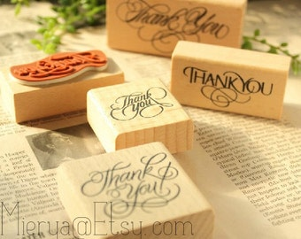 5 Pcs Wooden Rubber Stamp Set - Diary Stamps - Blessing Stamps - Thank You Series