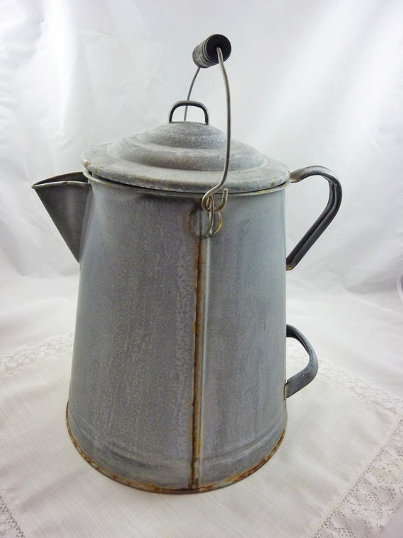 Vintage campfire enamelware coffee pot extra large rustic country