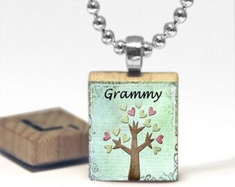 Grammy Scrabble Tile Pendant Necklace by Cheeky Monkey Pendants