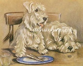 """Dog Art, Cairn Terriers,  Antique Art Print Restored, Original Restored from 1927 """"What About Us"""" Dogs at Table  #153"""