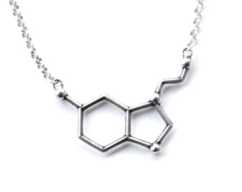 Serotonin Molecule Necklace  Free U.S. Shipping (sent out same business day)- gift for scientist packaged with serotonin description