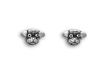 SS Pug Head Post Earrings