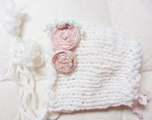 Newborn Photography Prop Vintage Bonnet knitted with Italian ivory colored yarn, two handmade flowers in pink raw silk  - antique design