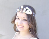 Something Blue Crown, Whimsical Flower Crown,  Bridal Wreath,  Bridal hair crown,Wedding flower head piece, White roses and blue berries