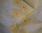 Yellow, Apricot and Gold Plumeria Flowers  Hand Painted Silk Scarf 11 x 60