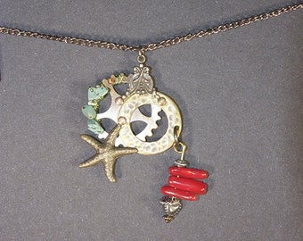 Red Coral, Turquoise, Starfish, Gears Necklace