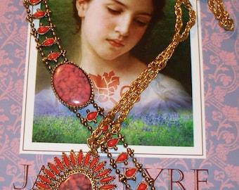 Faux Coral Necklace Bracelet Set - Goldtone - Vintage 1970s - Unsigned