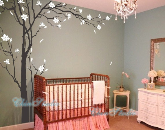 Tree decals nursery wall sticker baby room by chinstudio for Baby room tree mural