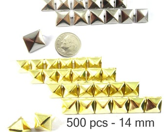 500 pcs - 9/16 inches (14 mm.) Nailheads Spots Pyramid Studs - 2 Prong (2 legs) Square Stud Spike - for DIY bag , shoes , on clothes