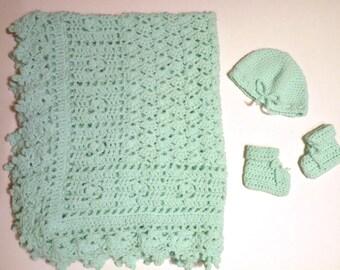 Green baby blanket hat and bootie set handmade unisex baby layette