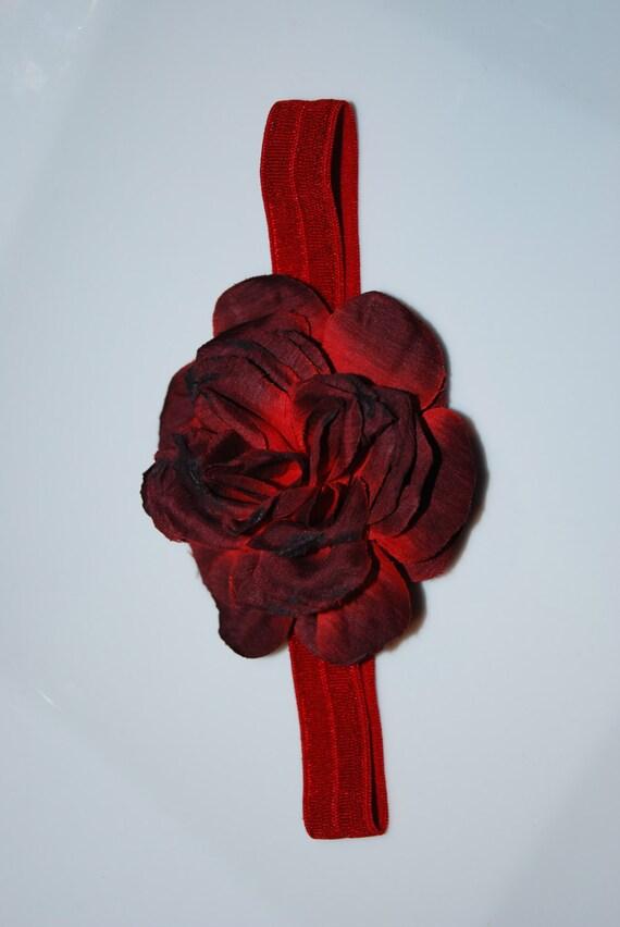 Red Satin Flower Headband / Newborn Flower Headband / Girls Headband / Toddler Satin Flower / Valentine's Day Headband